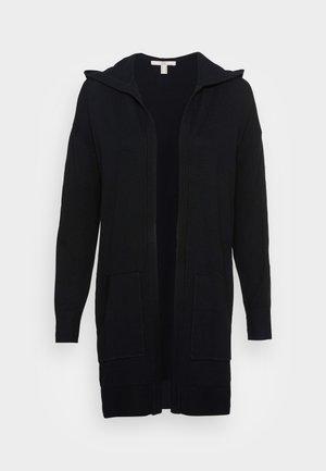 LONG HOODED - Cardigan - black
