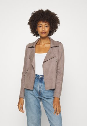 Faux leather jacket - earth grey