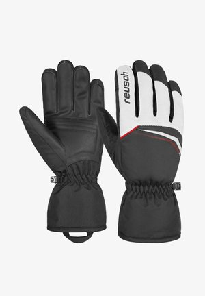 Gloves - white / fire red / black