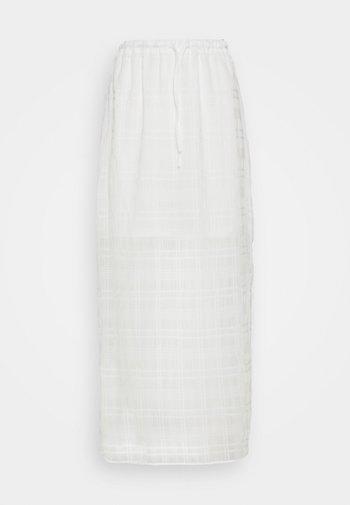 HIGH WAISTED MIDI SKIRT WITH SIDE SPLIT - Áčková sukně - white check