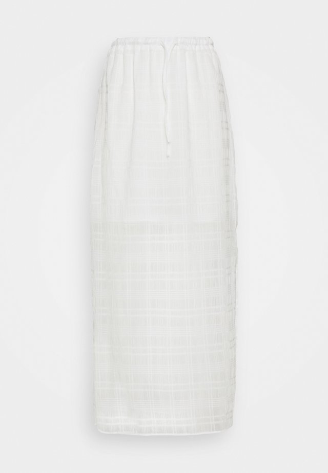 HIGH WAISTED MIDI SKIRT WITH SIDE SPLIT - Áčková sukně - white check