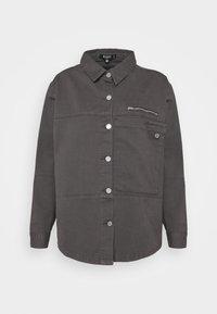 Missguided Petite - PETITEPANEL DETAIL ZIP DENIM SHIRT CO ORD - T-shirt à manches longues - black - 0