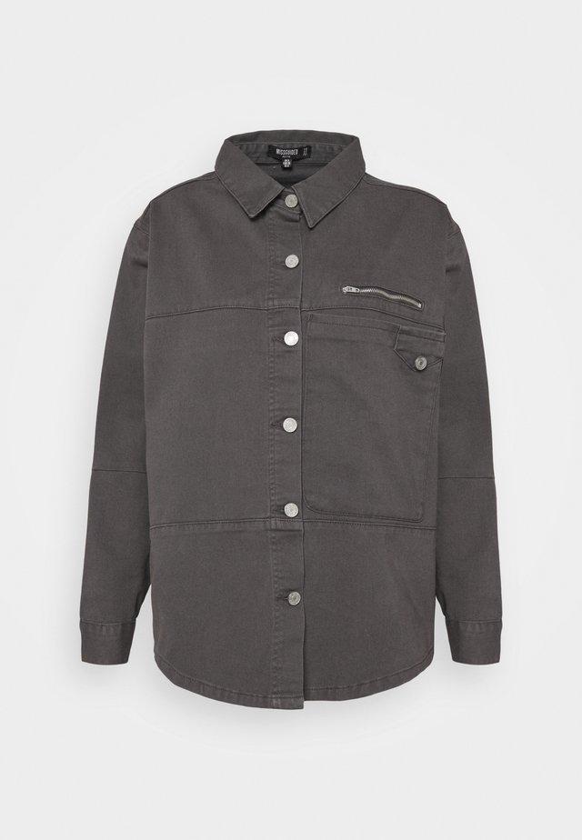PETITEPANEL DETAIL ZIP DENIM SHIRT CO ORD - T-shirt à manches longues - black