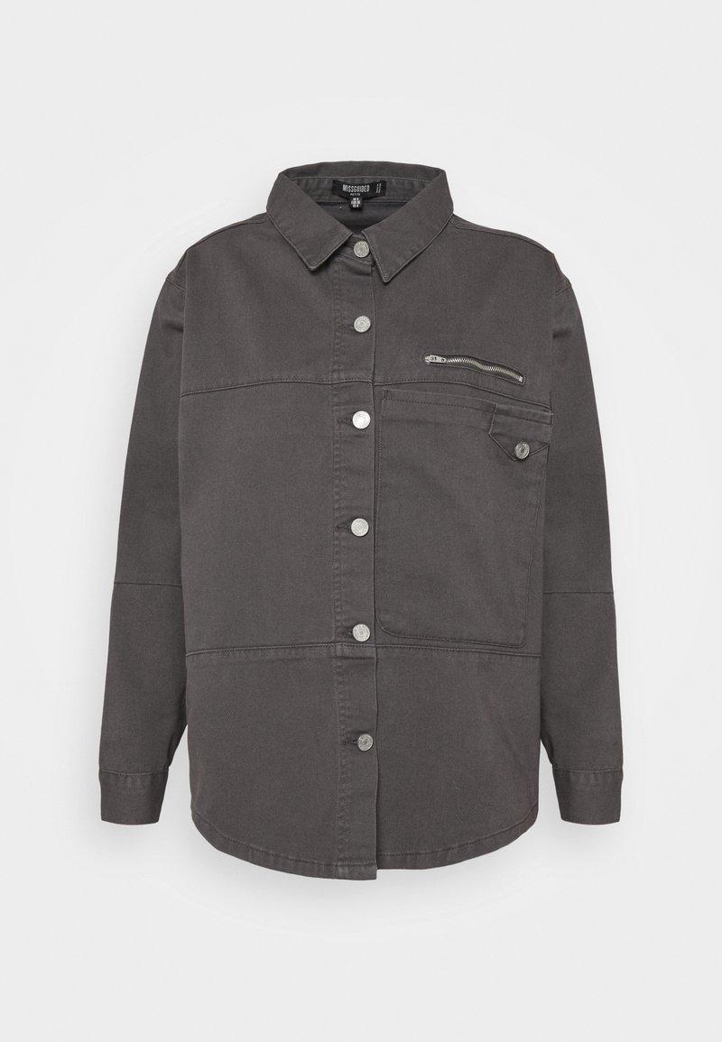 Missguided Petite - PETITEPANEL DETAIL ZIP DENIM SHIRT CO ORD - T-shirt à manches longues - black