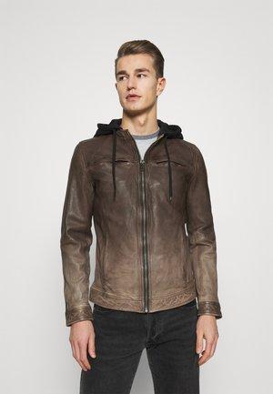STEADY - Veste en cuir - brown