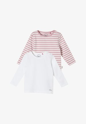 2 PACK - Long sleeved top - white/pink stripes
