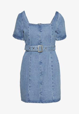 SELF BELTED PUFF SLEEVE MINI DRESS - Denim dress - light wash