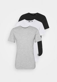 ONSMATT LONGY TEE 3 PACK - T-shirt - bas - light grey melange/white gray/black