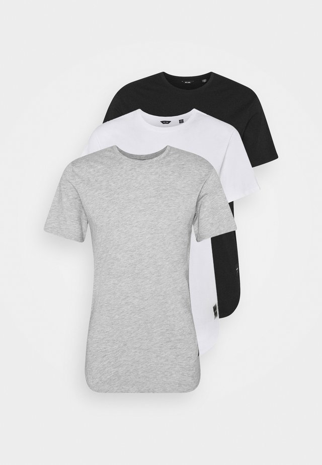 ONSMATT LONGY TEE 3 PACK - T-shirt basique - light grey melange/white gray/black