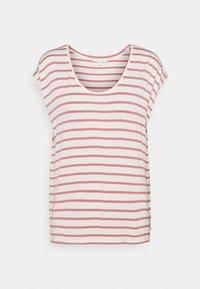 TOM TAILOR DENIM - STRIPED RELAXED TEE - Print T-shirt - rose/white - 0