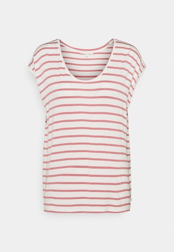 STRIPED RELAXED TEE - Print T-shirt - rose/white