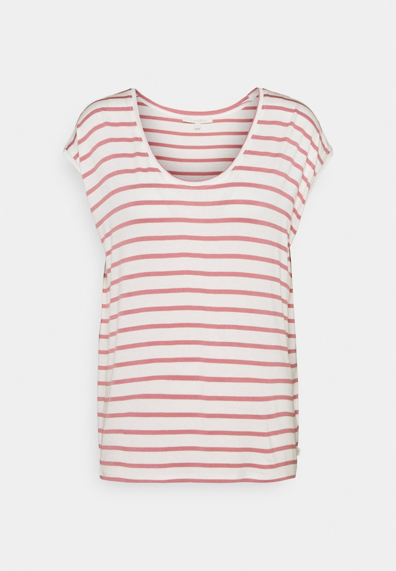 TOM TAILOR DENIM - STRIPED RELAXED TEE - Print T-shirt - rose/white