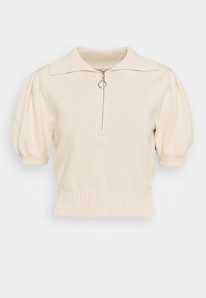 COLLAR AND PUFF SHORT SLEEVES - Jumper - stone