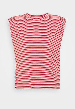 EPAULETTE RAYE - Print T-shirt - rouge/ecru
