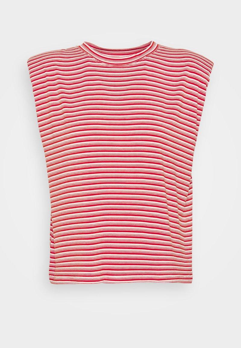 NAF NAF - EPAULETTE RAYE - T-shirt med print - rouge/ecru