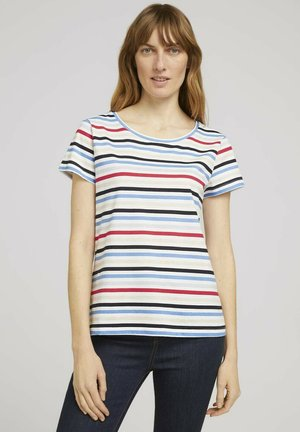 Print T-shirt - navy red multicolor stripe