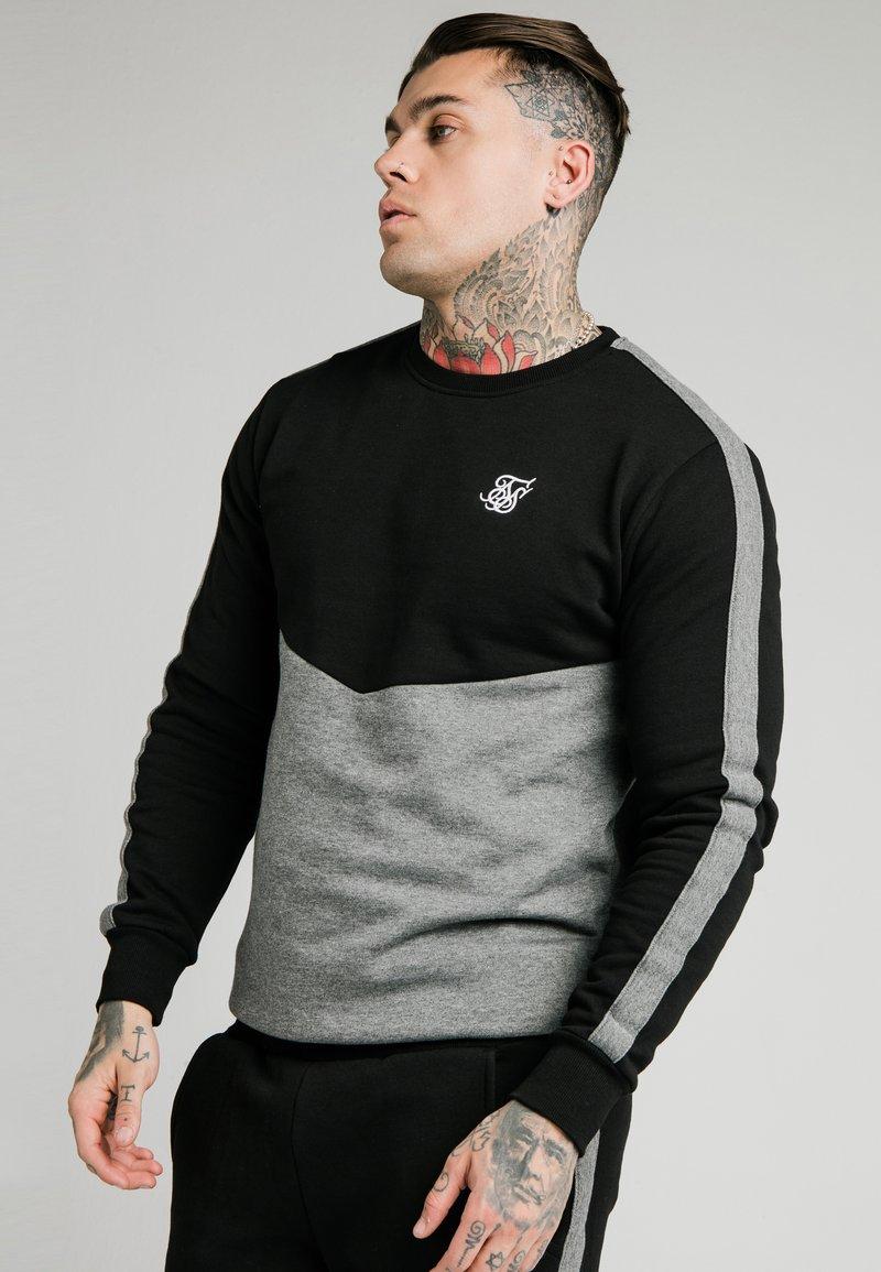 SIKSILK - CUT AND SEW CREW - Sweatshirt - black/grey marl
