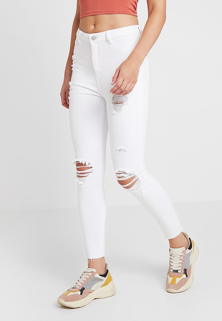New Look - RIPPED HALLLIE DISCO MINNIE - Jeans Skinny Fit - white