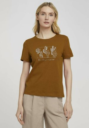 Print T-shirt - caramel brown