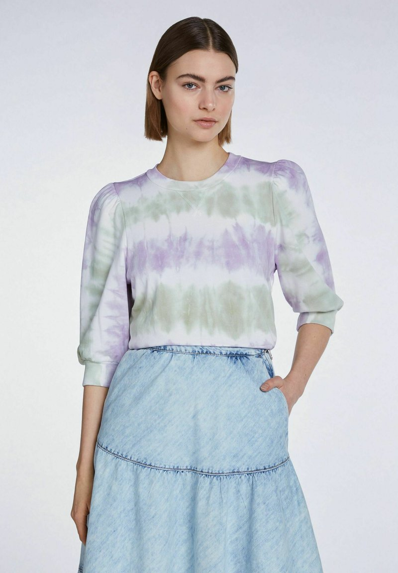 SET - MIT BATIK-LOOK - Sweatshirt - lilac green