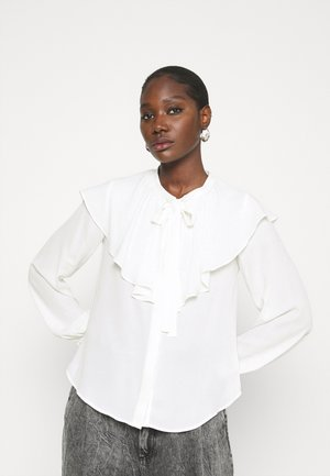 RUFFLE NECK - Blouse - white
