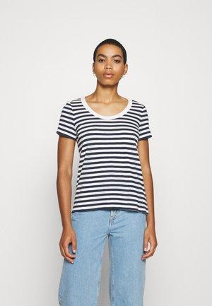 STRIPED SHIRT - Print T-shirt - navy