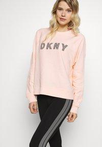 DKNY - HIGH WAIST TRACK LOGO - Collants - black/white - 3