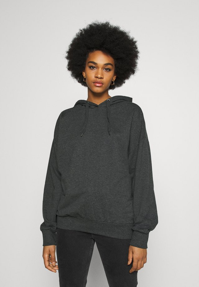 LONG OVERSIZED HOODIE - Mikina s kapucí - mottled grey