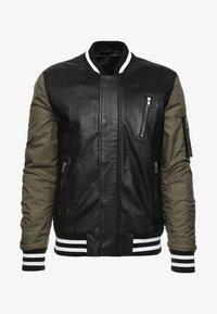 Be Edgy - BESASCHA - Leather jacket - black/oliv - 4