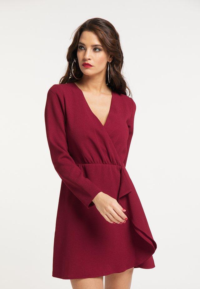 Korte jurk - dunkelrot