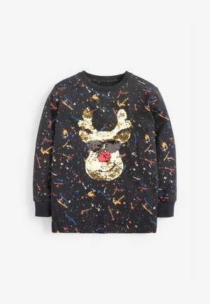 SEQUIN REINDEER CHRISTMAS - Long sleeved top - black