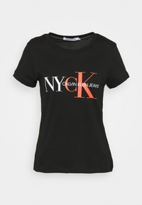 Calvin Klein Jeans - CLASSIC SLIM TEE - Print T-shirt - black - 0