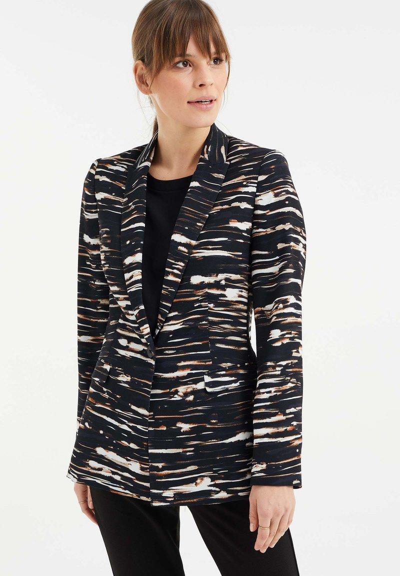 WE Fashion - MET STRETCH EN DESSIN - Blazer - black/white/ orange
