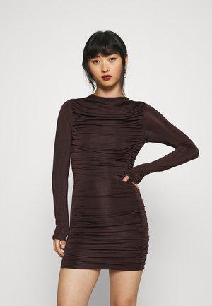 RUCHED SLINKY MINI DRESS - Day dress - chocolate
