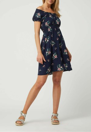 OFF-SHOULDER AUS VISKOSE - Jersey dress - marineblau