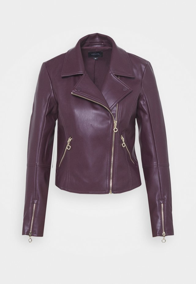Faux leather jacket - plum