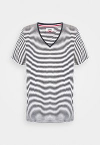 Tommy Jeans - TEXTURE FEEL V NECK TEE - T-shirts med print - twilight navy/white - 3