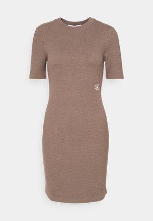 SLUB DRESS - Shift dress - dusty brown