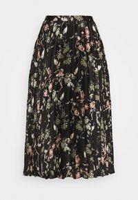 PLEATED MIDI PRINT - Pleated skirt - black
