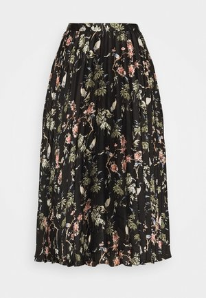 PLEATED MIDI PRINT - Faltenrock - black