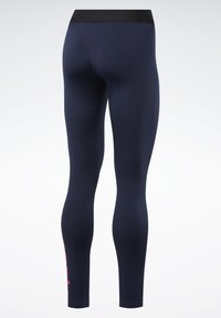 Reebok - TRAINING ESSENTIALS LINEAR LOGO LEGGINGS - Collant - blue - 8