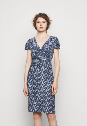 PRINTED MATTE DRESS - Jersey dress - navy/col cream