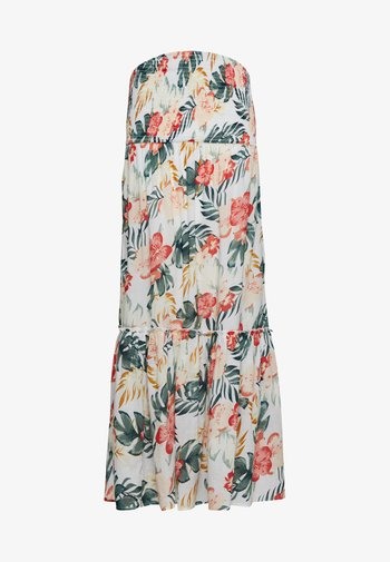 TROPICAL SHIRRED TOP RUFFLE HEM MIDI DRESS