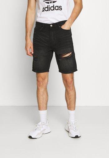 RIPPED SHORT - Denim shorts - black