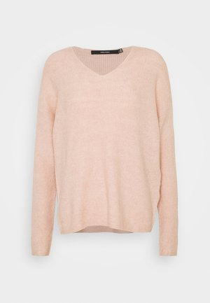 VMCREWLEFILE V NECK - Jumper - sepia rose melange