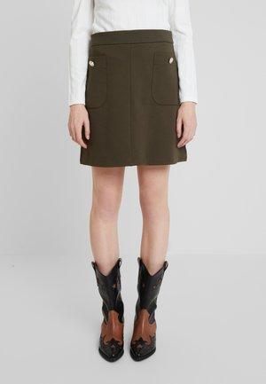 BUTTON POCKET MINI - Áčková sukně - khaki
