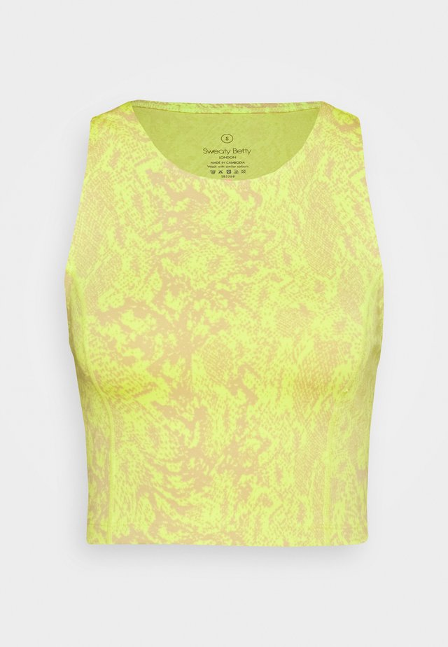 FLATTER ME WORKOUT CROPPED VEST - Toppi - neon yellow/light brown