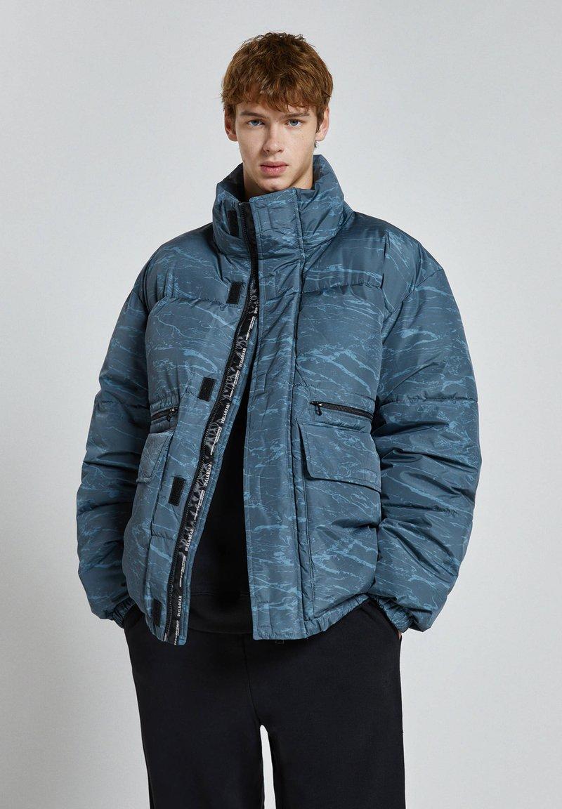 PULL&BEAR - Winter jacket - mottled blue