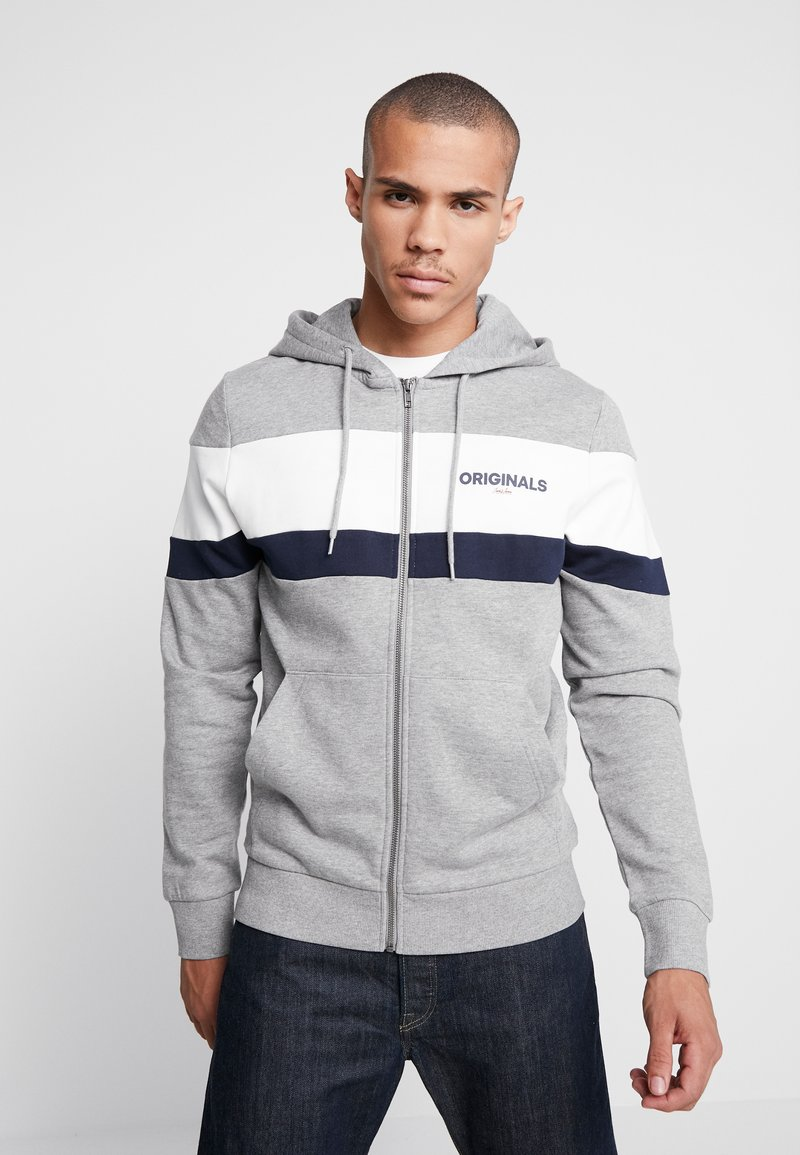 Jack & Jones - JORNEWSHAKEDOWN BLOCK ZIP  - Mikina na zip - light grey melange