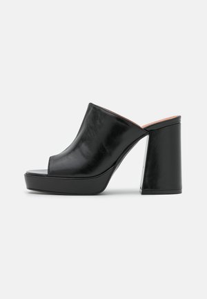 Pantofle na podpatku - black poncho